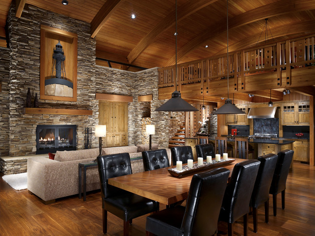 ... Wood Ceiling - Rustic - Dining Room - milwaukee - by Eldorado Stone