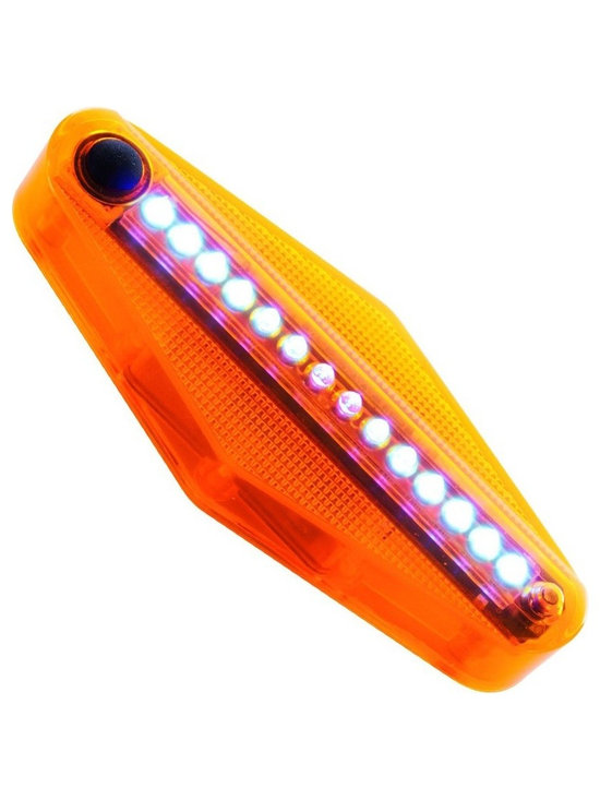 Trademark Global - TGT 14 LED Bike Spoke Message Light - Set of - Set of 2. Fits on bikes with a wheel diameter of 20 in. or greater. Waterproof. Orange ABS plastic construction. ON button. Installs on the either side of front or back wheel. Display sequence: message, patterns, time of riding, number of rounds and patterns. Patterns change every three seconds. Forty design patterns. Five words patterns: HELLO, I LOVE YOU, PEACE, GOGO and BIKE. Light enters sleep mode one minute after wheel stops. LED lights keep blinking for tow minutes after. Shuts off automatically to save power approximately three minutes after wheel has stopped. Sensor unit mounts on bike forks. Made from plastic and wood. No assembly required. Sensor: 2 in. L x 1 in. W x 1 in. H. Light: 5.25 in. L x 1 in. W x 2 in. H (1 lbs.)