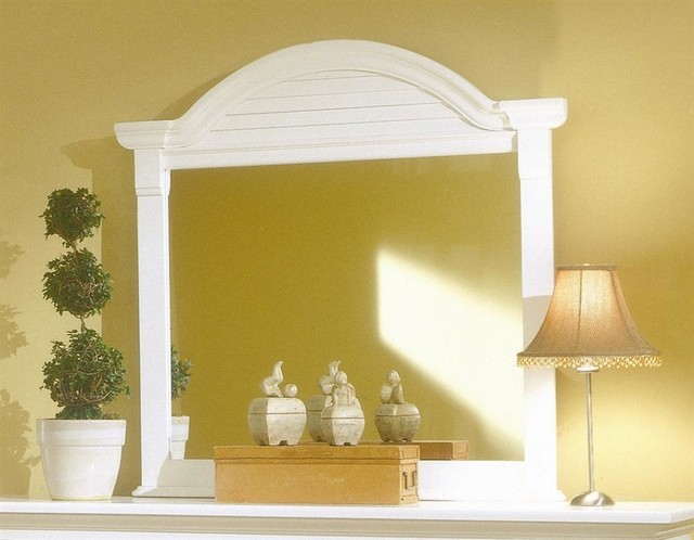 Arched Dressing Mirror in Eggshell White Finish traditional-mirrors