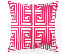 Greek Key Embroidered Pillow in Magenta by Trina Turk modern pillows