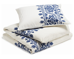Aari Embroidered Duvet Cover, White With Royal Blue, Full/Queen mediterranean-duvet-covers-and-duvet-sets