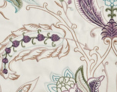 Purple Embroidered Floral Faux Silk Fabrics modern-fabric