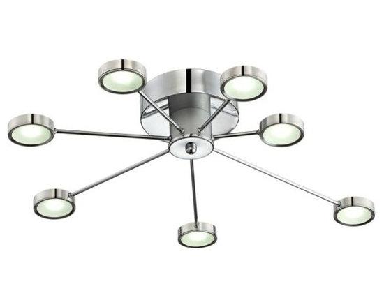 Modern Chrome Retro Circles LED Possini Euro Ceiling Light -