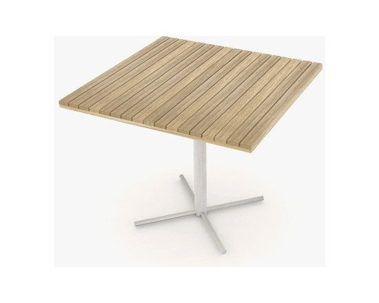Jane Hamley Wells - Jane Hamley Wells | JAZZ Square Table with Pedestal Base - Designed by Kenkoon Studio for Jane Hamley Wells.Simple yet distinct, the JAZZ Square Table with Pedestal Base bears a single solid leg and superior-quality teak surface, meant for long days under the sun.