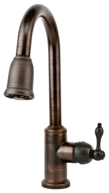 single handle kitchen faucet w pullout spray traditional