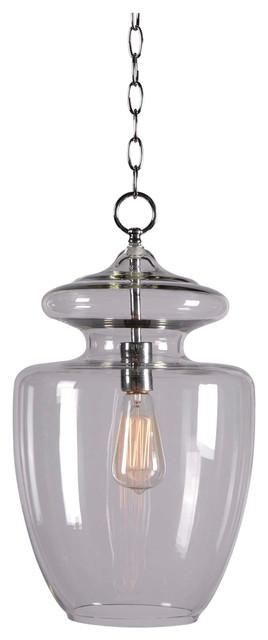 Kenroy 93037CLR Apothecary 1-Light Pendant transitional-pendant-lighting