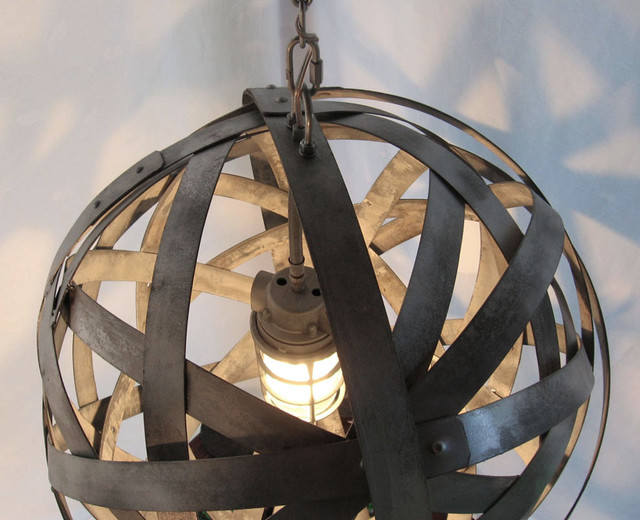 Orbits, urban chandelier, recycled wine barrel metal hoops, galvanized steel ban contemporary pendant lighting