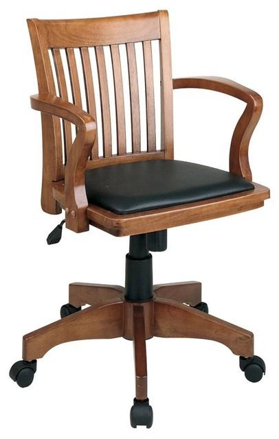 Wooden Bankers Desk Chair Vintage Wooden Bankers Office