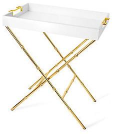 Greek Key Handle Tray and Stand modern-bar-carts