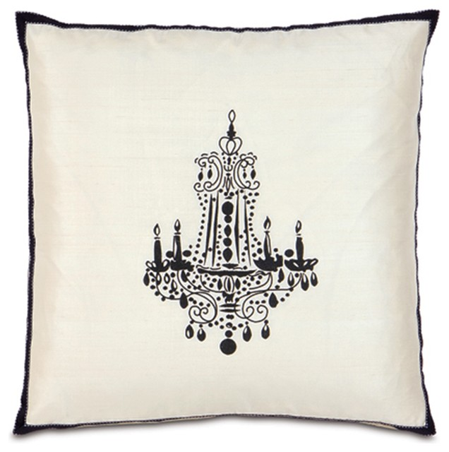 Black Chandelier Embroidered White Pillow modern pillows