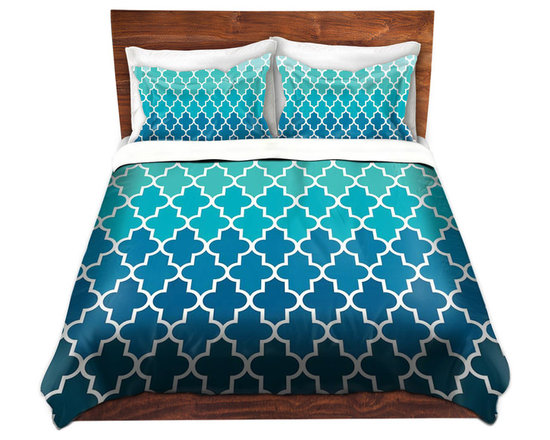 DiaNoche Designs - Duvet Cover Twill by Organic Saturation - Aqua Ombre Quatrefoil - Lightweight and soft brushed twill Duvet Cover sizes Twin, Queen, King.  SHAMS NOT INCLUDED.  This duvet is designed to wash upon arrival for maximum softness.   Each duvet starts by looming the fabric and cutting to the size ordered.  The Image is printed and your Duvet Cover is meticulously sewn together with ties in each corner and a concealed zip closure.  All in the USA!!  Poly top with a Cotton Poly underside.  Dye Sublimation printing permanently adheres the ink to the material for long life and durability. Printed top, cream colored bottom, Machine Washable, Product may vary slightly from image.