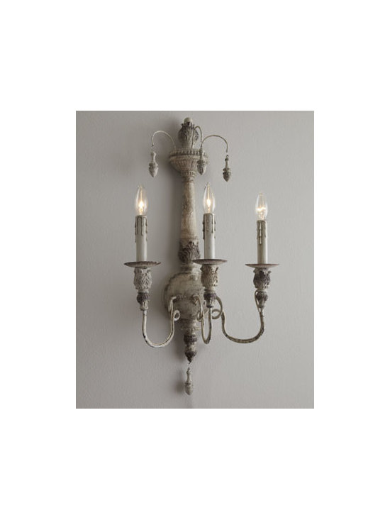 Horchow - Salento Sconce - Salento, Italy, is filled with architectural examples of the Baroque and Rococo periods. To celebrate the richness of this region, this three-light wall sconce features delicate, imperfectly curved arms that hold candlestick-style lights. Made of steel...