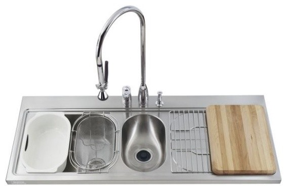 ... Double-Basin Kitchen Sink with Drainboard at traditional-kitchen-sinks