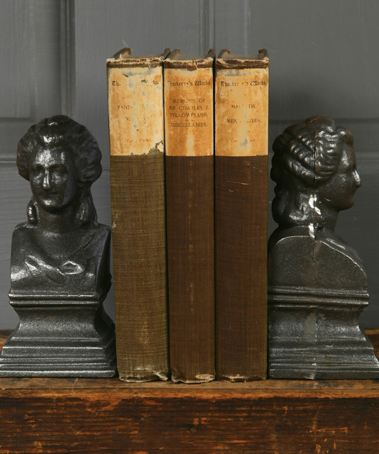 Cast Iron  Marie Antoinette Bookends - Natural transitional-bookends
