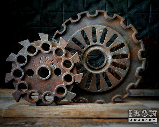 Antique Industrial Gear Decor - Fantastic set of old gears of thick cast iron in hardcore industrial designs. Engraved text to make them even more intriguing! Reclaimed lumber display stand.