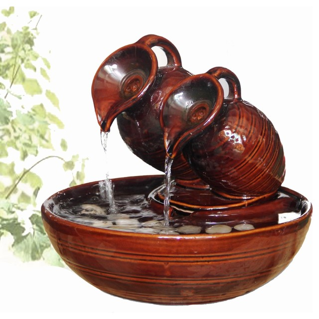 Welland two pots pouring ceramic tabletop fountain for Pot water fountain designs