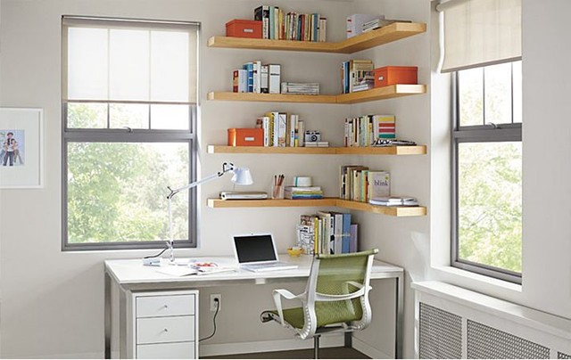 Creative Look Easy Home Office With Wall Shelving  Construction  Haven Home