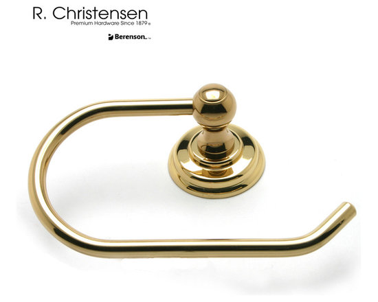 2119US3 Polished Brass Single-Arm Tissue Holder by R. Christensen - 7 by 4-3/8 inch traditional style single-arm tissue holder by R. Christensen in Polished Brass.