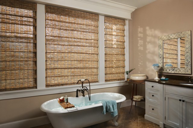 Shower curtain white waterproof window curtains in - Woven Wood Blinds Rustic Bathroom Dallas By Ross Howard