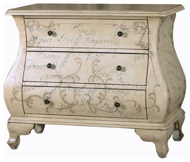 Hand-painted Distressed Antique Ivory Bombay Chest - Contemporary - Accent Chests And Cabinets ...