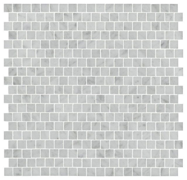 Staggered Carrara Mosaic eclectic kitchen tile