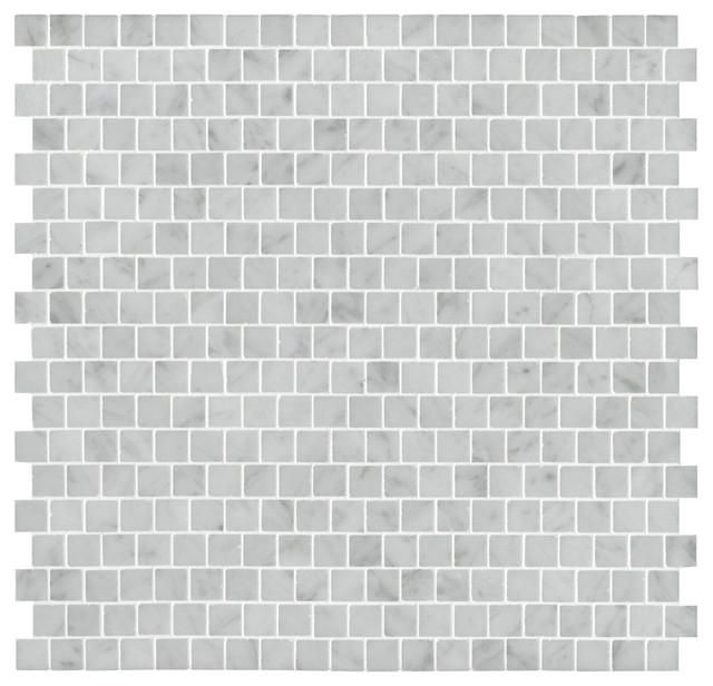 Staggered Carrara Mosaic transitional-mosaic-tile