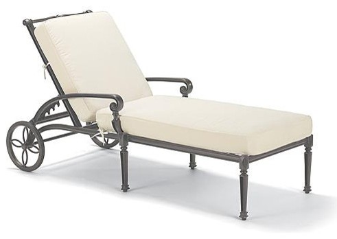 Carlisle Outdoor Chaise Lounge Chair with Cushions in Gray Finish ...