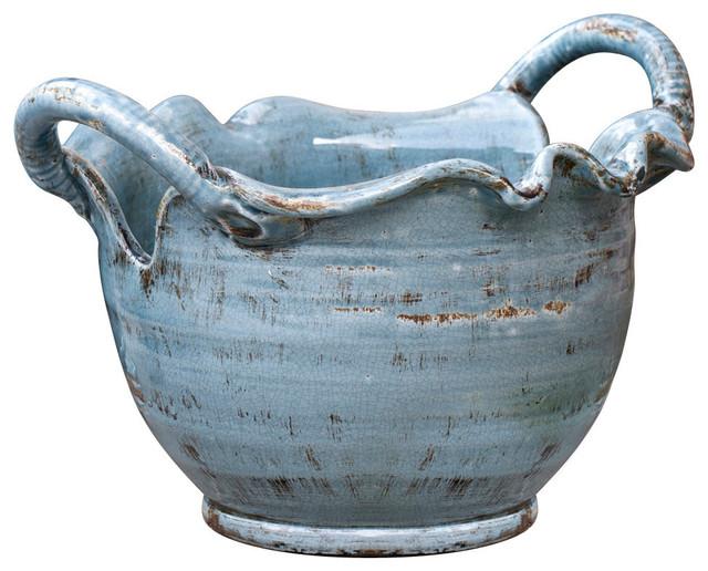 Vinci Centerpiece Bowl - French Blue transitional-bowls