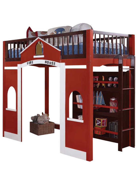 Adarn Inc - Modern Stylish Espresso Red Twin Loft Bed Built in Ladder Storage Bookcase Shelf - With a contemporary look and functional design, this twin loft bed will make a practical addition to your child's bedroom. It features full length guard rails for safety and vertical built-in side ladders for convenient access. Underneath the lofted bed is a 3-shelf bookcase, offering the perfect place for display children's favorite items.