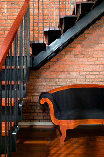 double-wide townhouse renovation modern-staircase