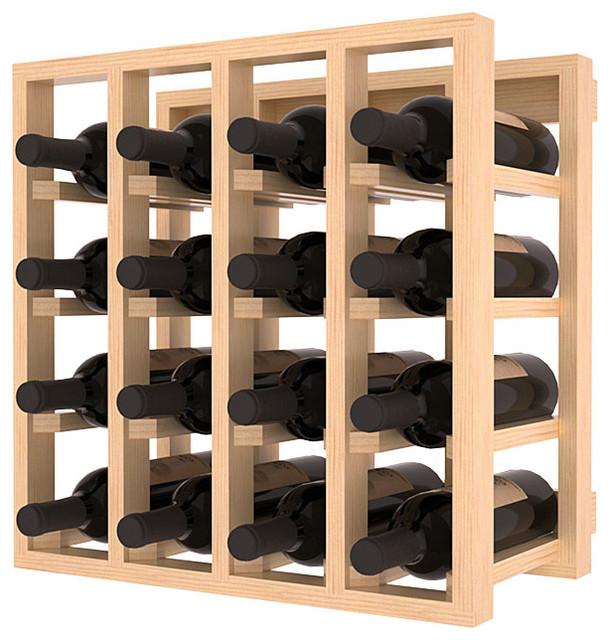Lattice Stacking Wine Cubicle in Ponderosa Pine, Satin Finish contemporary-wine-racks