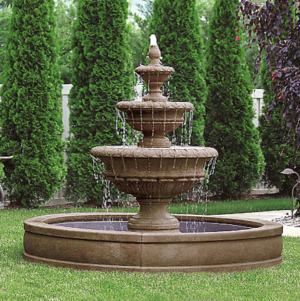 Chanticleer fountain traditional outdoor fountains and for Backyard pond fountains