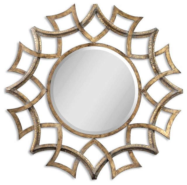 Demarco round mirror antique gold traditional wall mirrors Round decorative wall mirrors