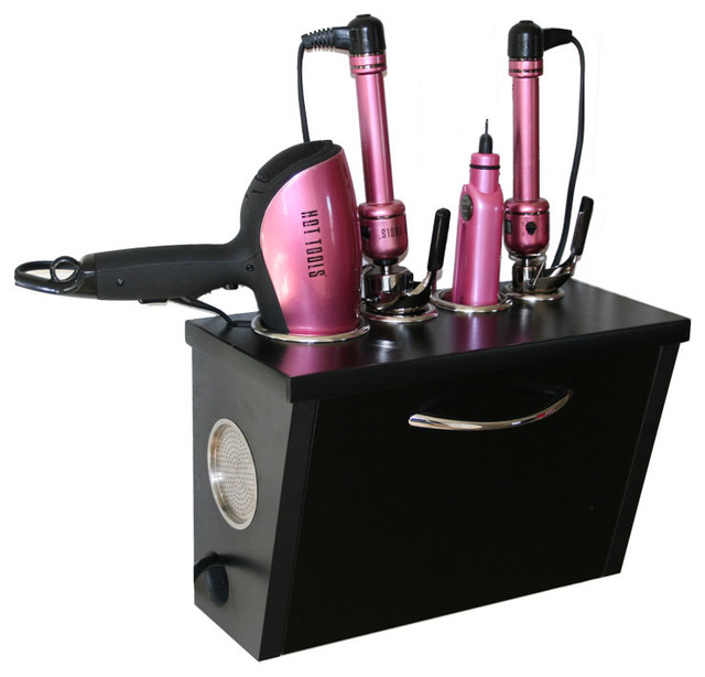 Curling Iron, Blow Dryer, and Flat Iron Holder - Wall Mount, Black - Contemporary - Bathroom ...