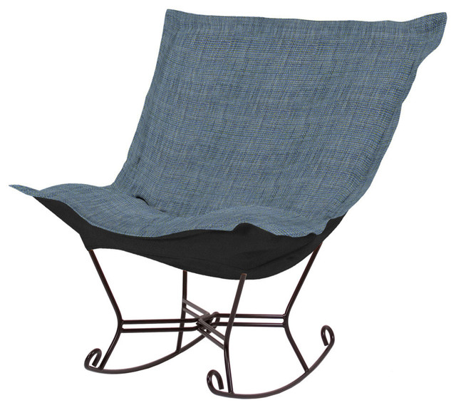 Coco Sapphire Scroll Puff Rocker - Mahogany Frame contemporary-rocking-chairs-and-gliders