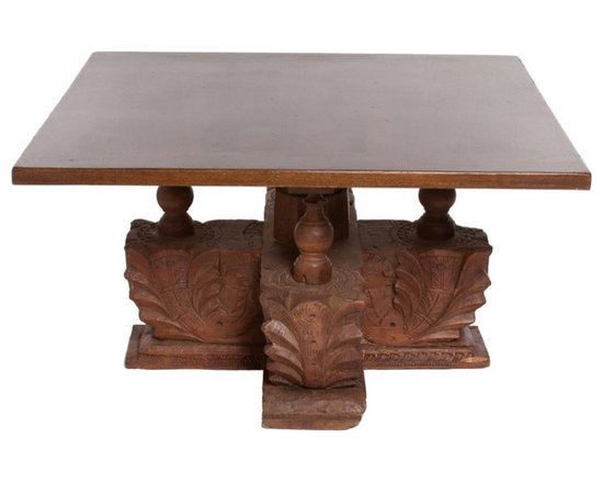 Carved Wooden Column Table -