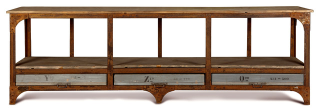 Norden Industrial Loft Iron 3 Drawer Wood Console Sideboard transitional-buffets-and-sideboards