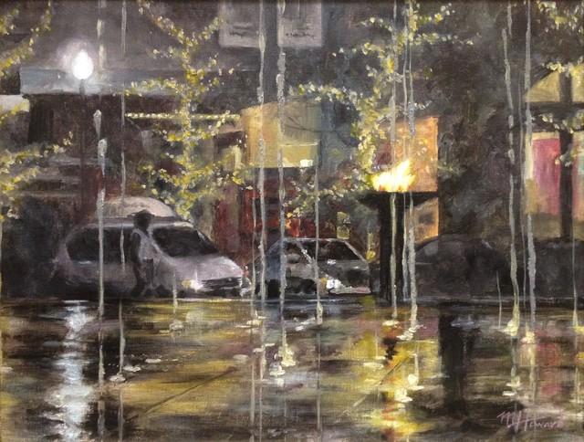 Gateway Winter Night Fountains, Original, Painting contemporary-paintings