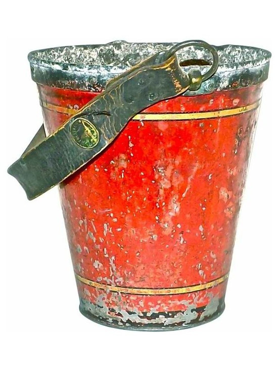 """Fire Bucket - 19th-century English fire bucket with a leather strap handle that extends 8.5"""" from the bucket rim."""