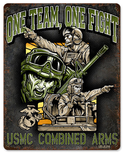One Team One Fight Vintage Metal Sign modern-home-decor