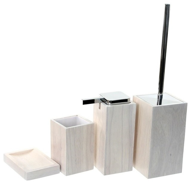 Wooden 4 piece white bathroom accessory set contemporary for Contemporary bathroom accessories
