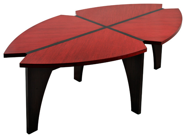 Bamboo Coffee Table Red Black Contemporary Coffee Tables By