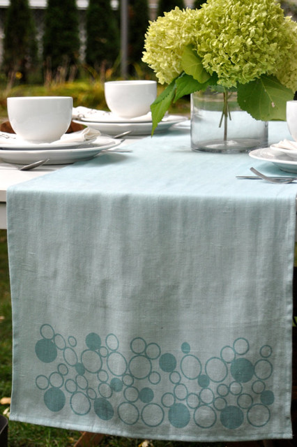 Table Runner Linen Hand Printed Sky Blue Bubbles by Printing Grounds modern table linens