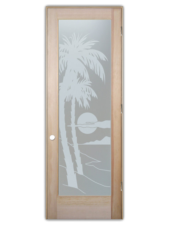 """Sans Soucie Art Glass (door frame material T.M. Cobb) - Interior Glass Door Sans Soucie Art Glass Palm Sunset Private, Natural Unfinishe - Sans Soucie Art Glass Interior Door with Sandblast Etched Glass Design. GET THE PRIVACY YOU NEED WITHOUT BLOCKING LIGHT, thru beautiful works of etched glass art by Sans Soucie!  THIS GLASS PROVIDES 100% OBSCURITY.  (Photo is View from OUTside the room.)  Door material will be unfinished, ready for paint or stain.  Satin Nickel Hinges. Available in other wood species, hinge finishes and sizes!  As book door or prehung, or even glass only!  1/8"""" thick Tempered Safety Glass.  Cleaning is the same as regular clear glass. Use glass cleaner and a soft cloth."""