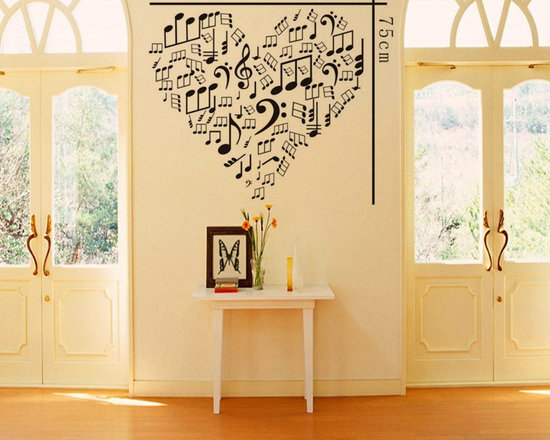 ColorfulHall Co., LTD - Decal Stickers Removable Heart Shape with Music Note Art Decor - Decal Stickers Removable Heart Shape with Music Note Art Decor