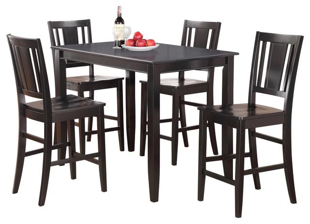 5 Piece Counter Height Table Set High Table And 4 Stools