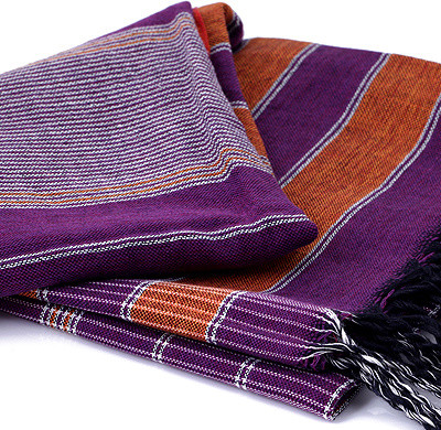Cotton Kikoy with Orange, Purple and White Horizontal Stripes mediterranean towels