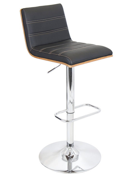 Vasari Bar Stool - BLACK/TAN STITCHING