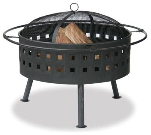 Uniflame Aged Bronze Outdoor Fire Bowl with Lattice Design modern firepits