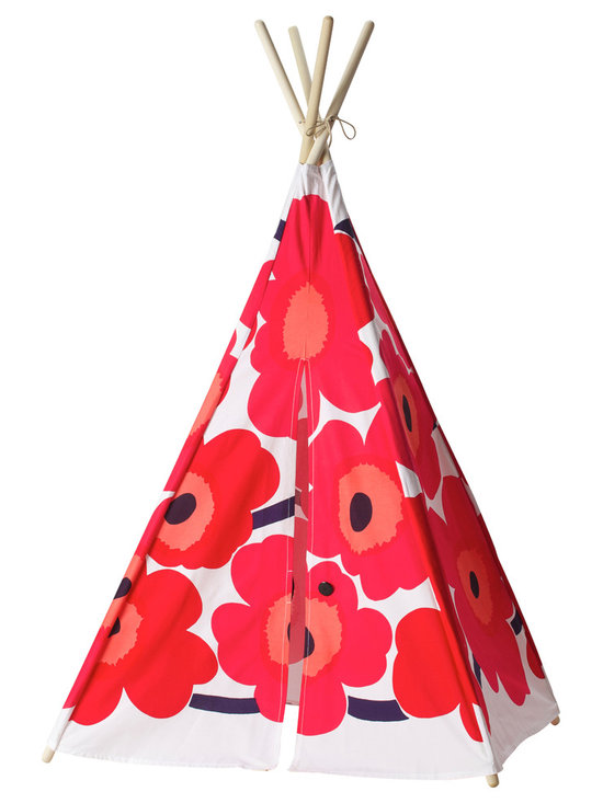Teepeedees - Kids' Tepee, Marimekko Unikko Poppy, Small - Crafted from Marimekko's bright and cheery Unikko fabric, this kid's teepee is a riotous celebration of youth. This play tent also features an elastic closure, trimmed with an imported black nylon button.